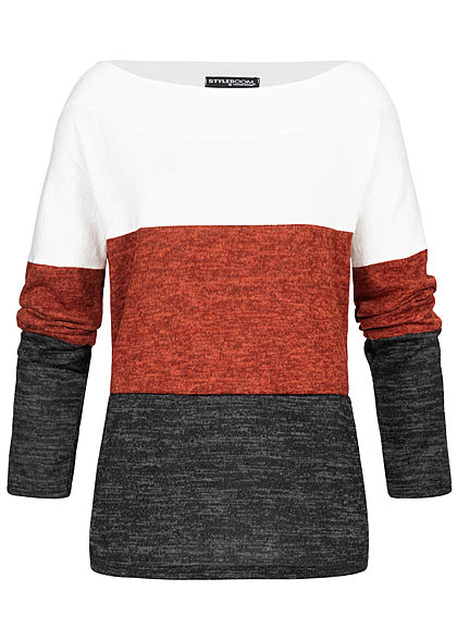 Styleboom Fashion Damen Off-Shoulder Colorblock Sweater weiss kupfer schwarz