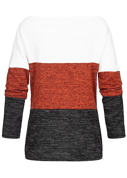 Styleboom Fashion Damen Off-Shoulder Colorblock Sweater weiss kupfer schwarz