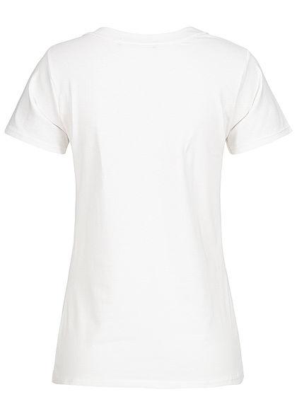 Styleboom Fashion Damen T-Shirt Tiger Print weiss braun schwarz