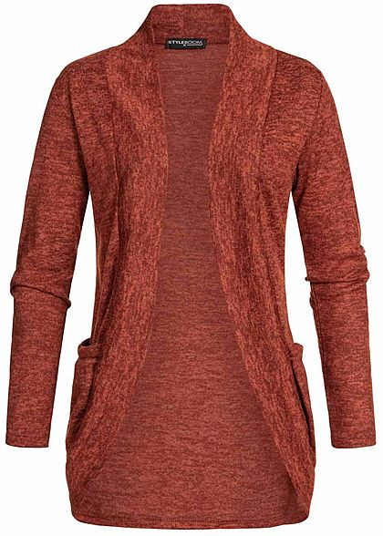 Styleboom Fashion Damen Turn-Up Cardigan 2-Pockets kupfer braun