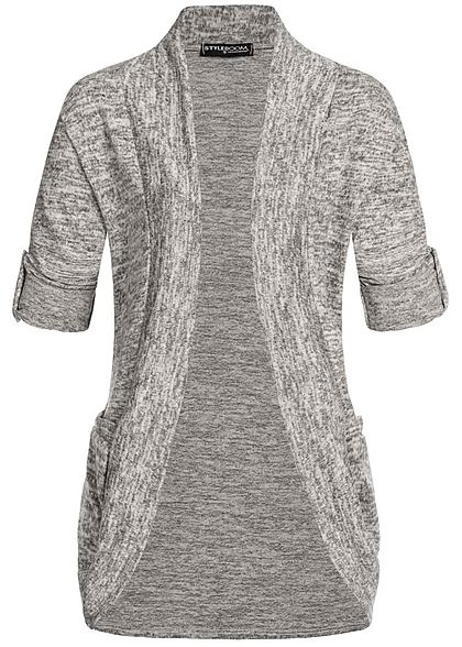 Styleboom Fashion Damen Turn-Up Cardigan 2-Pockets beige