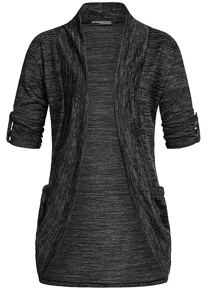 Styleboom Fashion Damen Turn-Up Cardigan 2-Pockets schwarz melange