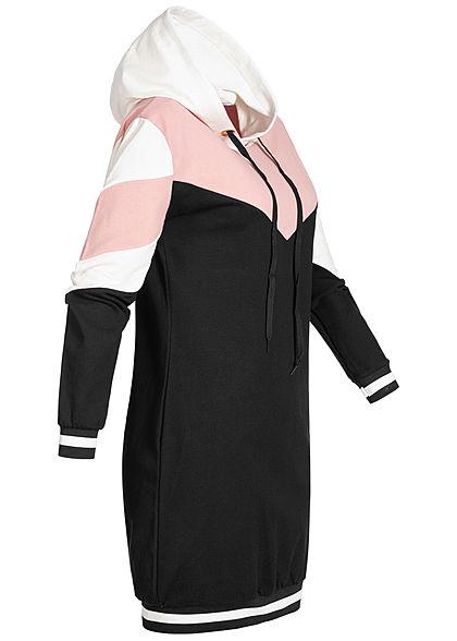 Styleboom Fashion Damen Colorblock Hoodie Kleid Kapuze weiss rosa schwarz