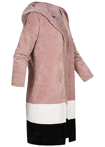 Styleboom Fashion Damen Colorblock Cardigan Kapuze rosa weiss schwarz