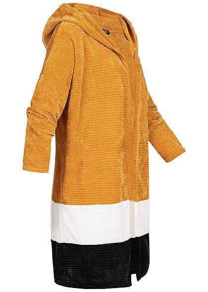 Styleboom Fashion Damen Colorblock Cardigan Kapuze gelb weiss schwarz