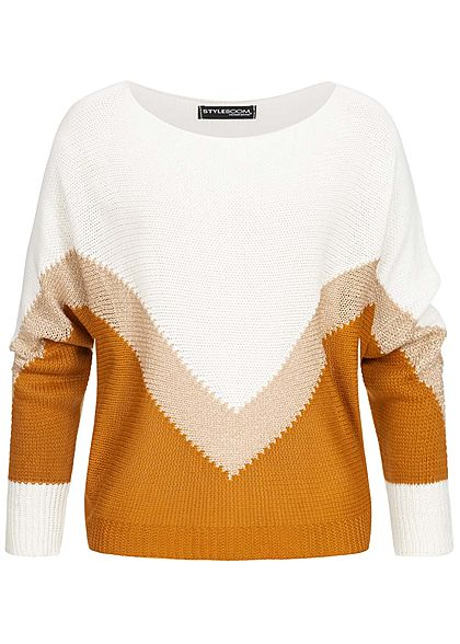 Styleboom Fashion Damen Colorblock Strickpullover weiss gold pumpkin