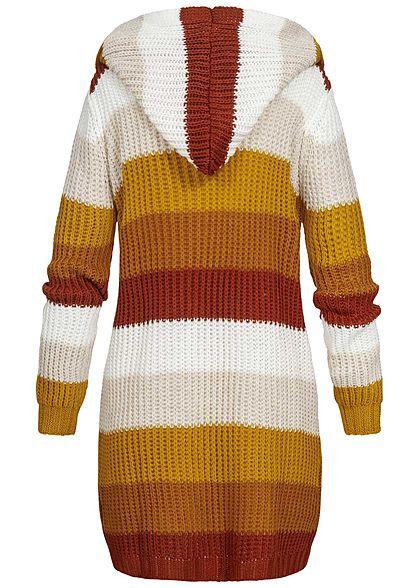 Styleboom Fashion Damen Strick Cardigan Kapuze Streifen weiss braun
