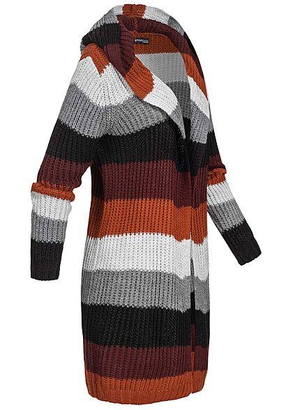 Styleboom Fashion Damen Strick Cardigan Kapuze Streifen grau schwarz braun