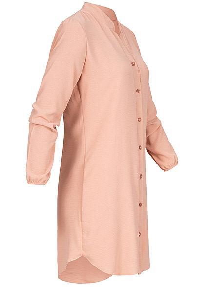 Styleboom Fashion Damen Blusen Kleid Knopfleiste old rosa