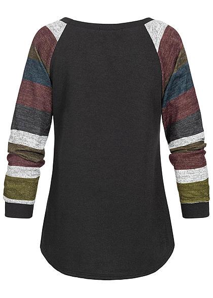 Styleboom Fashion Damen Multicolor Langarm Sweater Streifen schwarz multicolor
