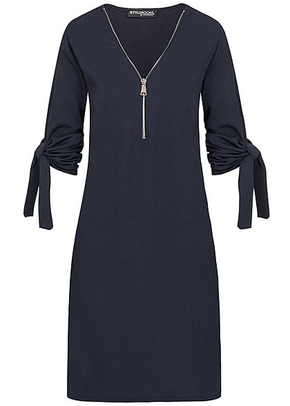 Styleboom Fashion Damen Turn-Up Mini Kleid Zipper navy blau