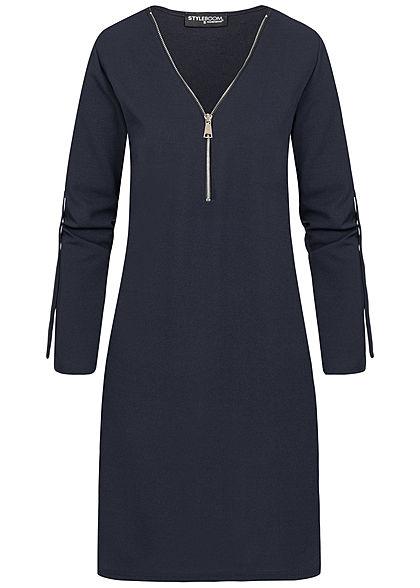Styleboom Fashion Damen Turn-Up Mini Kleid Zipper navy blau