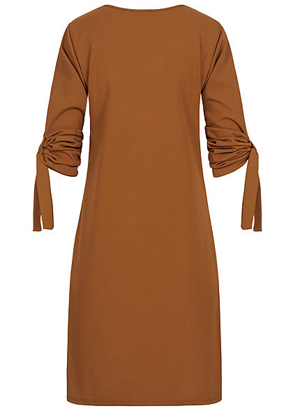Styleboom Fashion Damen Turn-Up Mini Kleid Zipper caramel braun