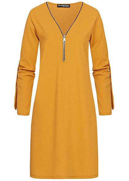 Styleboom Fashion Damen Turn-Up Mini Kleid Zipper senf gelb