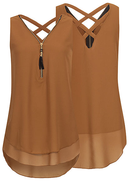 Styleboom Fashion Damen Chiffon Top Zipper 2-lagig dunkel braun