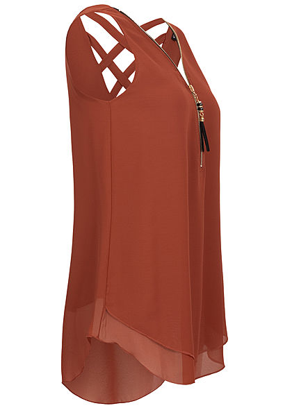 Styleboom Fashion Damen Chiffon Top Zipper 2-lagig caramel braun