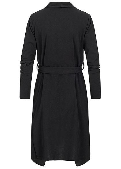 Styleboom Fashion Damen Cardigan mit Bindegürtel schwarz