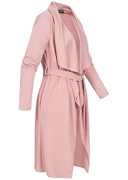 Styleboom Fashion Damen Cardigan mit Bindegürtel old rosa
