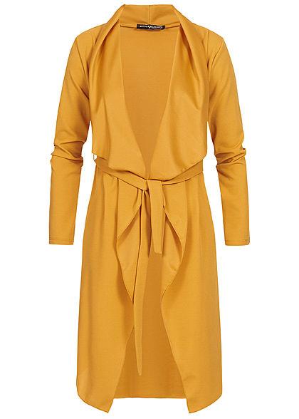 neueste trends von 2019 neue Version heißer Verkauf online Styleboom Fashion Damen Cardigan mit Bindegürtel senf gelb