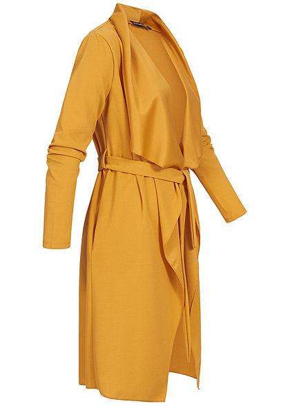 Styleboom Fashion Damen Cardigan mit Bindegürtel senf gelb