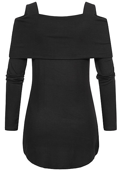 Styleboom Fashion Damen Cold-Shoulder Träger Longsleeve schwarz