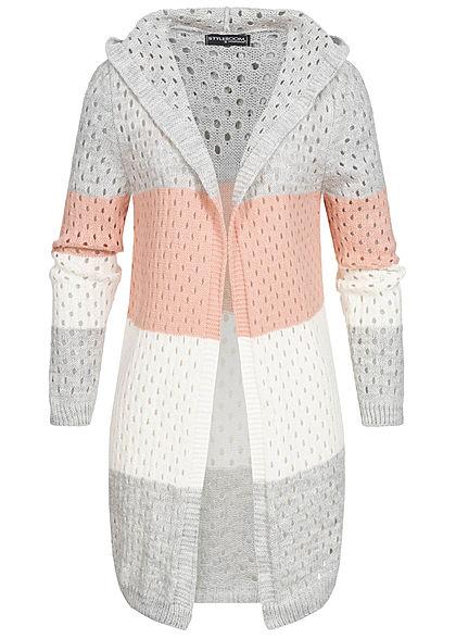 Styleboom Fashion Damen Colorblock Strick Cardigan Kapuze grau rosa weiss