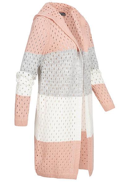 Styleboom Fashion Damen Colorblock Strick Cardigan Kapuze rosa grau weiss