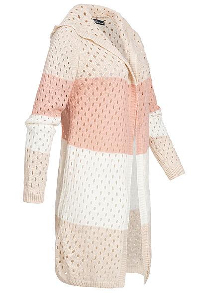 Styleboom Fashion Damen Colorblock Strick Cardigan Kapuze beige weiss rosa