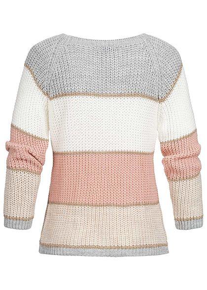 Styleboom Fashion Damen Colorblock Strickpullover Lurex grau weiss rosa