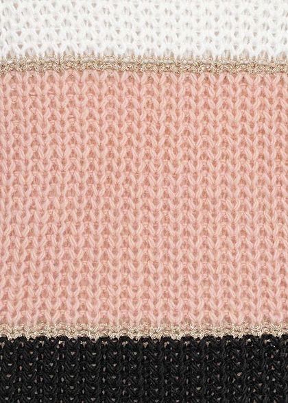 Styleboom Fashion Damen Colorblock Strickpullover Lurex beige weiss rosa schwarz