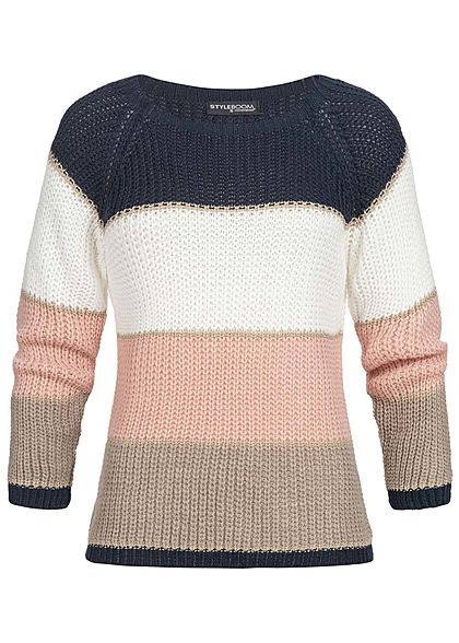 Styleboom Fashion Damen Colorblock Strickpullover Lurex navy weiss rosa braun