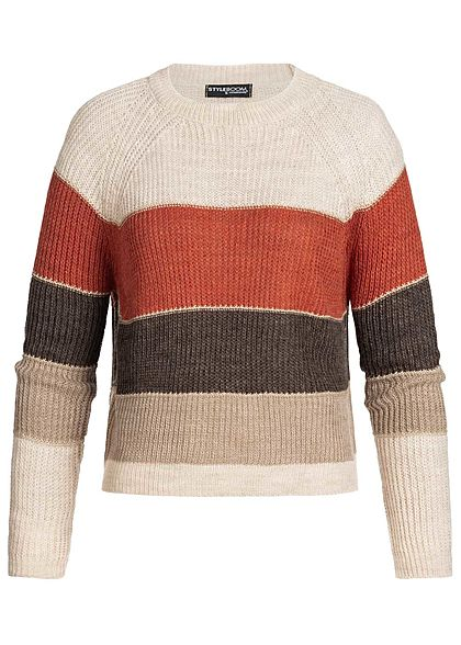 Styleboom Fashion Damen Colorblock Strickpullover Lurex beige braun grau