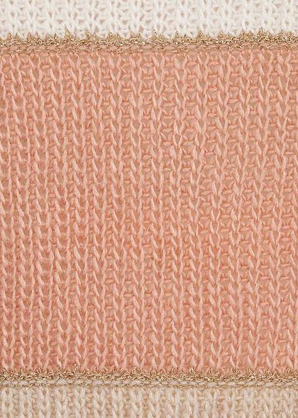 Styleboom Fashion Damen Colorblock Strickpullover Lurex grau weiss rosa beige