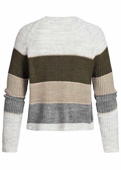 Styleboom Fashion Damen Colorblock Strickpullover Lurex grau khaki fango grau