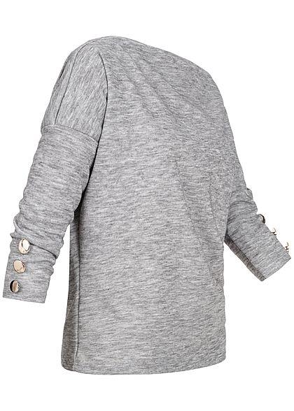 Styleboom Fashion Damen One-Shoulder Sweater Deko Knöpfe hell grau melange
