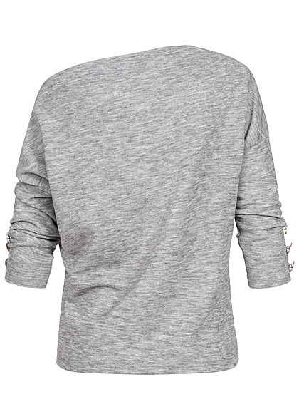 Styleboom Fashion Damen One-Shoulder Pullover Deko Knöpfe hell grau melange