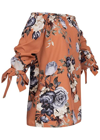 Styleboom Fashion Damen Off-Shoulder Blusen Top Blumen Print kupfer braun