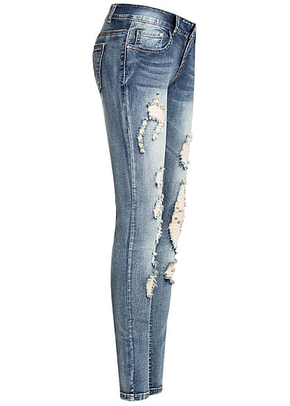 Seventyseven Lifestyle Damen Skinny Jeans 5-Pockets Heavy Destroy Look med. blau denim