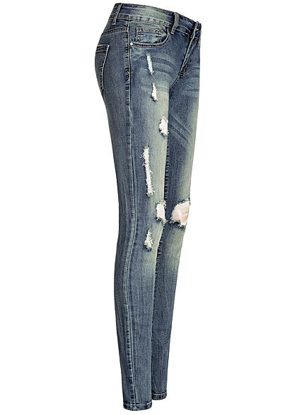 Seventyseven Lifestyle Damen Skinny Jeans 5-Pockets Heavy Destroy Look dunkel blau denim