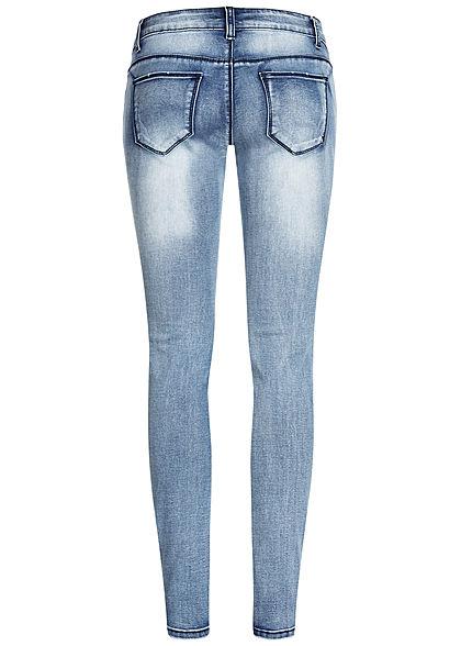 Seventyseven Lifestyle Damen Skinny Jeans 5-Pockets Deko Perlen & Strasssteine h. blau
