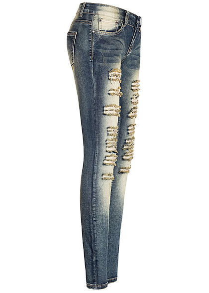 Seventyseven Lifestyle Damen Skinny Jeans 5-Pockets Heavy Destroy Look dunkel blau denim