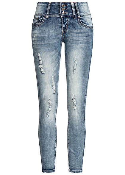Seventyseven Lifestyle Damen Skinny Jeans 5-Pockets Destroy Look hell blau denim