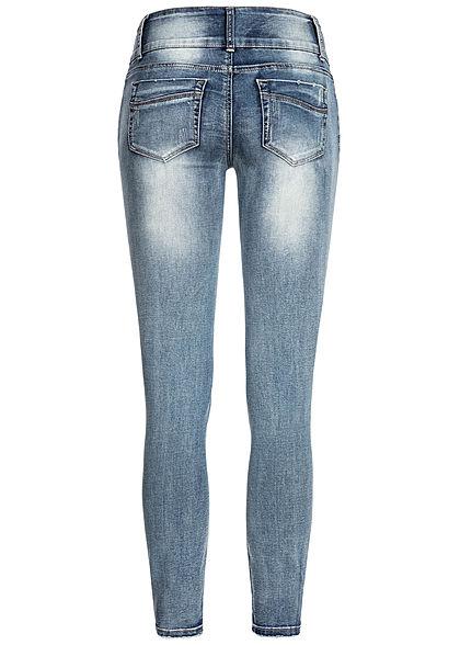 Seventyseven Lifestyle Damen Skinny Jeans 5-Pockets Destroy Look hell blau denim