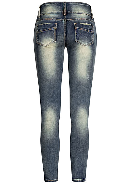 Seventyseven Lifestyle Damen Skinny Jeans 5-Pockets Destroy Look dunkel blau denim
