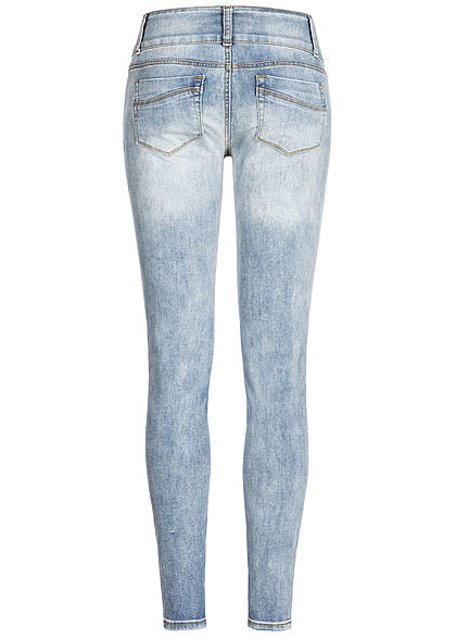 Seventyseven Lifestyle Damen Skinny Jeans 5-Pockets Heavy Destroy Look hell blau denim