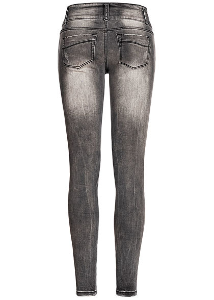 Seventyseven Lifestyle Damen Skinny Jeans 5-Pockets Heavy Destroy Look dunkel grau denim