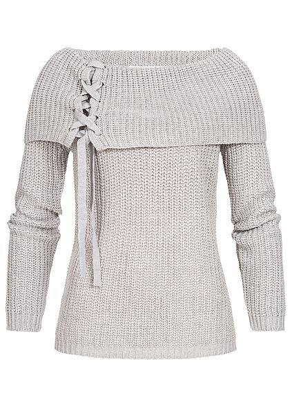 Seventyseven Lifestyle Damen Off-Shoulder Knit Sweater hell grau