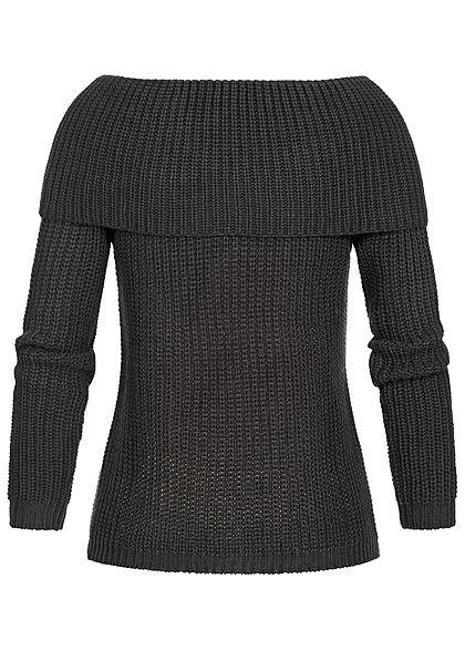 Seventyseven Lifestyle Damen Off-Shoulder Knit Sweater schwarz
