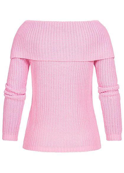 Seventyseven Lifestyle Damen Off-Shoulder Knit Sweater rosa