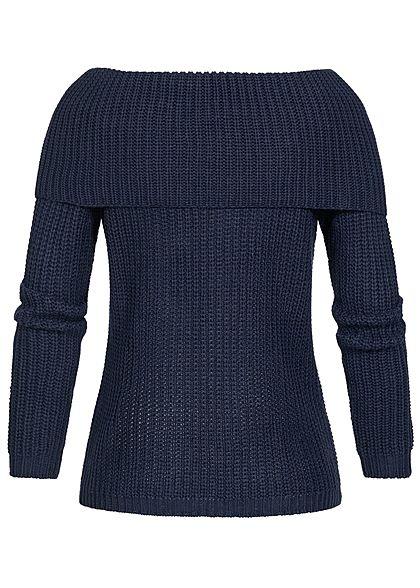Seventyseven Lifestyle Damen Off-Shoulder Knit Sweater navy blau